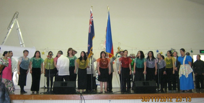 different Pinoy choirs singing both the NZ and Philippine national anthems