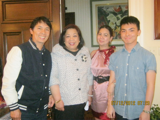 it's not often the official representative of the Republic of the Philippines opens up her home to ordinary people like me and family. Me, Her Excellency Amb Virginia Benavidez, Mahal and Bunso :)