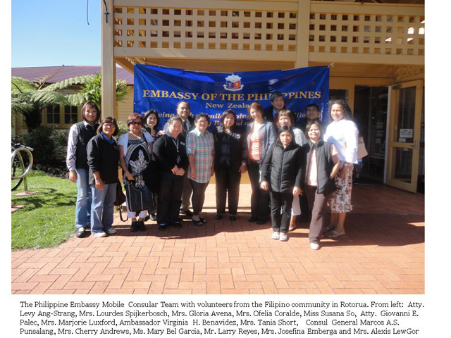 The Philippine Embassy mobile consular team with volunteers of the Pinoy community in Rotorua, NZ.  From left : Atty Levy Ang-Strang, Mrs Lourdes Spijkerbosch, Mrs Gloria Avena, Mrs Ofelia Coralde, Ms Susana So, Atty Giovanni E Palec, Ms Marjorie Luxford, Ambassador Virginia H Benavidez, Mrs Tania Short, Consul General Marcos A.S. Punsalang, Ms Cherry Andrews, Ms Mary Bel Garcia, Mr Larry Reyes, Mrs Josefina Emberga and Mrs Alexis LewGor