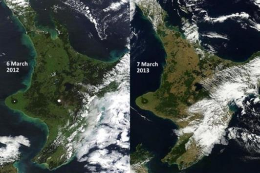 satellite images showing the onward march of debilitating New Zealand drought this year.