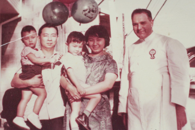 a young Joe & Linda more than half a century ago, with toddlers Tim and Donald, and Father George Lalliberte who married them only a few years ago. Your loyal blogger was probably still a bun in the oven ;)
