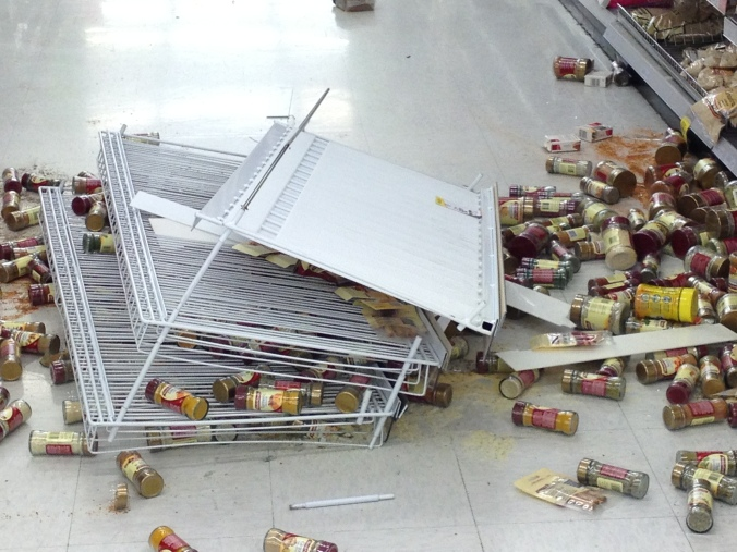 unluckily, the shelf itself was dislodged in the condiments aisle.