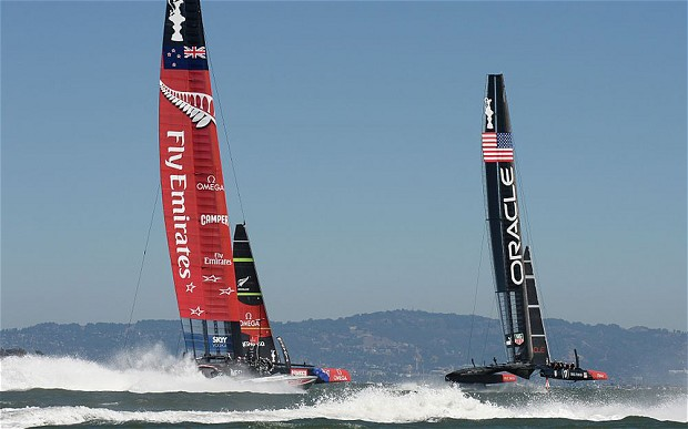 Team NZ and Team USA, tough competitors of the America's Cup