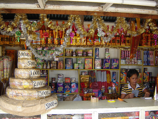 Fireworks and firecrackers are a noisy staple during New Year's celebrations.  They also add to underground economic activity this time of the year.