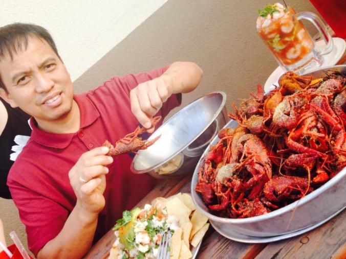 He usually loves to cook for others, but here he is enjoying great Pinoy seafood. ;) happy birthday and all the best Tom!