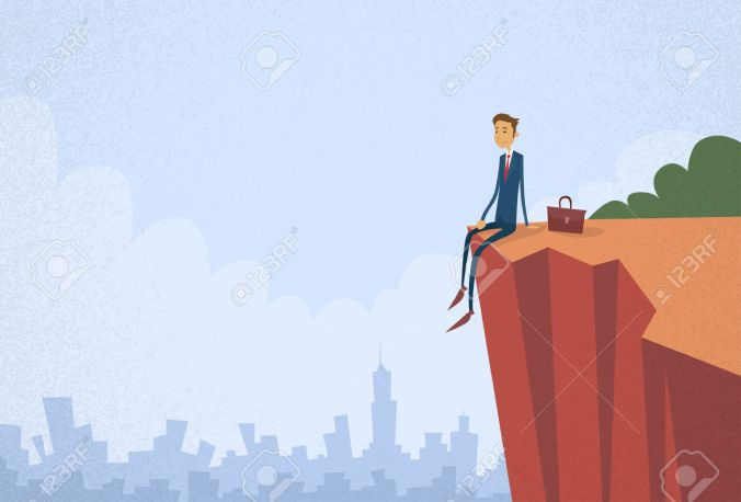 Businessman Sitting Top Cliff Rock Mountain