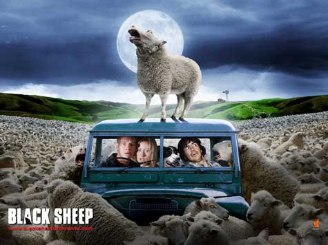 "an actual (horror) movie poster poking fun at the ""sheep"" and dairy culture of New Zealand."